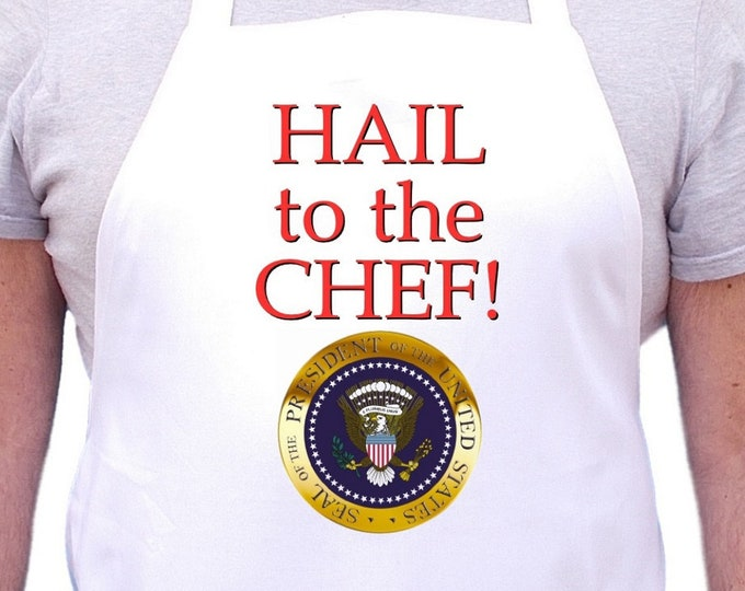 Hail To The Chef Funny Kitchen Aprons, White Cooking Aprons Gift Idea