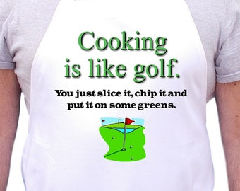 Funny Novelty Aprons Golfing Gift Ideas Cooking Is Like Golf, Golfers Chef Apron