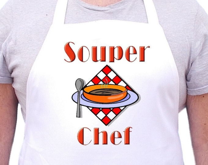 Funny Cooking Apron Souper Chef Aprons With Attitude, White Chef Aprons With Extra Long Ties