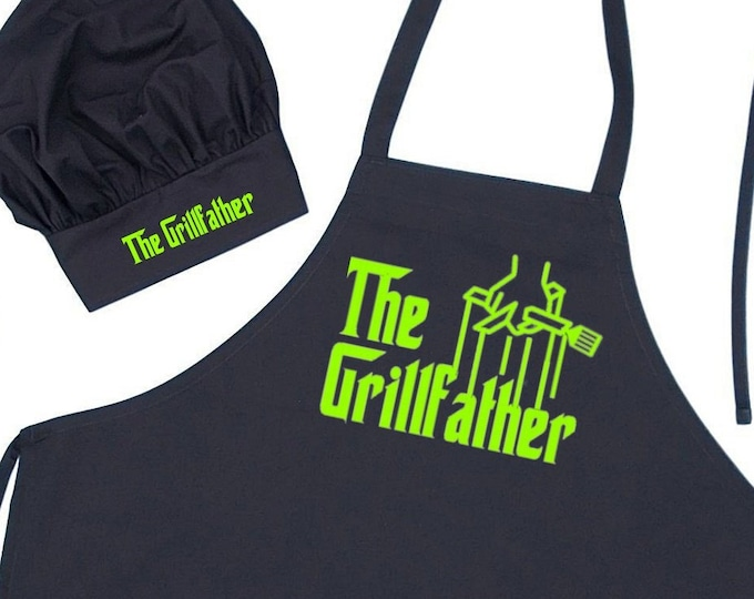 The Grillfather Apron and Chef Hat Set, Father's Day BBQ Gift Ideas For Men