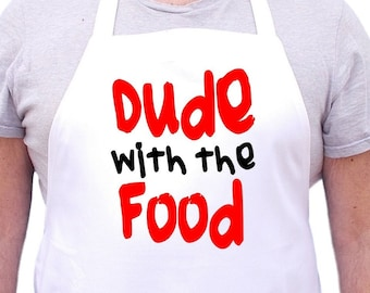 Funny Aprons For Men Dude With The Food, Mans Cooking Aprons, Mens Chef Apron