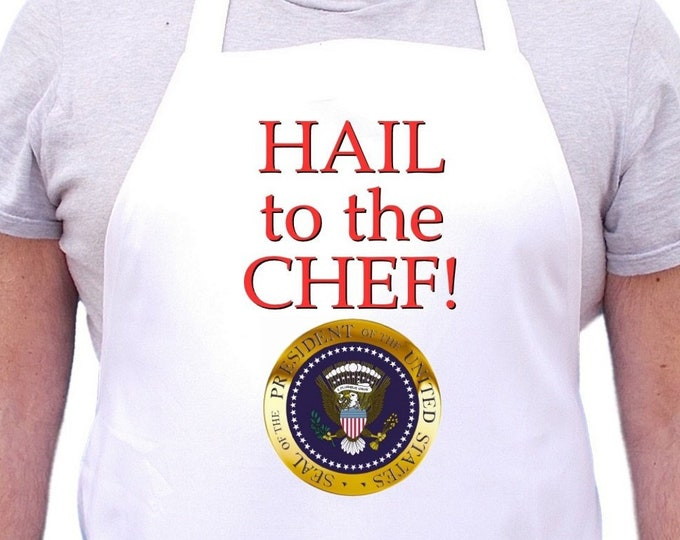 Hail To The Chef Funny Kitchen Aprons, Cooking Aprons For Men And Women