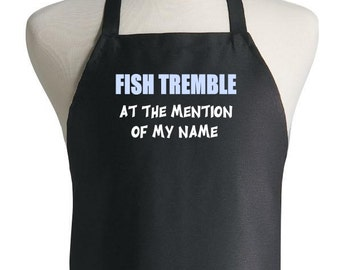 Black Cooking Aprons Fish Tremble Funny Sayings Kitchen Apron