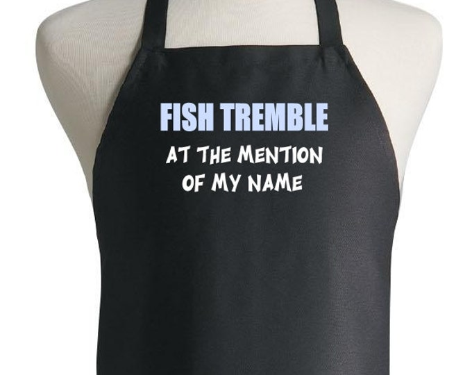 Black Cooking Aprons Fish Tremble Funny Sayings Kitchen Apron