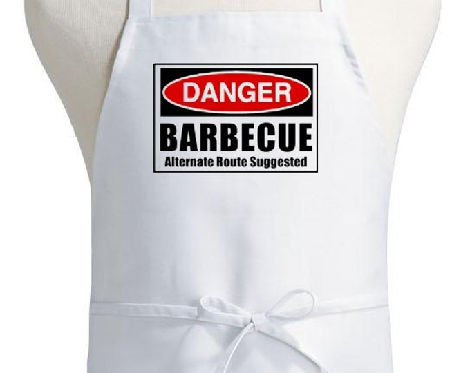 Funny White Apron Danger Barbecue Aprons With Attitude