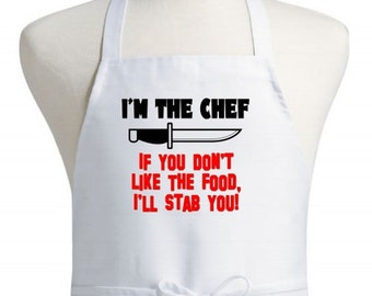 Funny White Cooking Apron I'm The Chef Aprons With Attitude