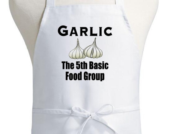 White Chef Aprons Garlic The 5th Basic Food Group Cooking Apron