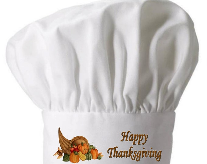Happy Thanksgiving Holiday Chefs Hat and White Chef Toques