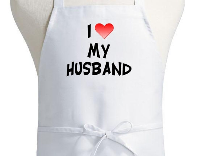 Romantic Kitchen Aprons I Love My Husband Cooking Apron