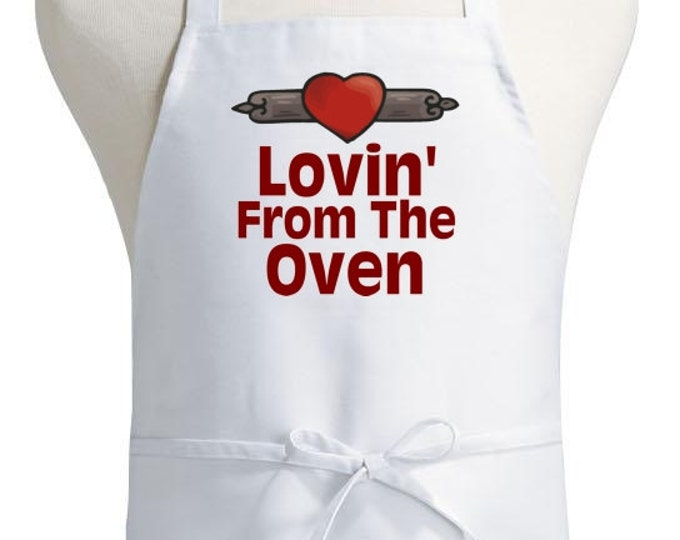 Cute Kitchen Aprons Lovin' From The Oven White Cooking Apron