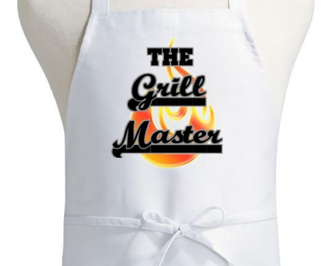 BBQ Chef Apron The Grill Master Novelty White Aprons