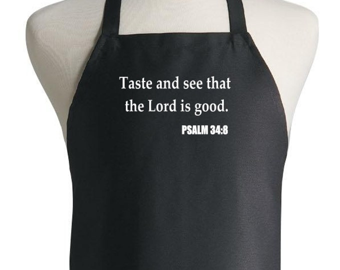 Christian Black Cooking Aprons The Lord Is Good Kitchen Apron