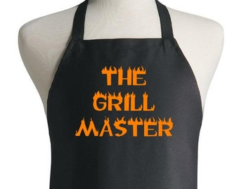 CoolAprons The Grill Master Apron and Chef Hat Set, BBQ Aprons, Cooks Caps