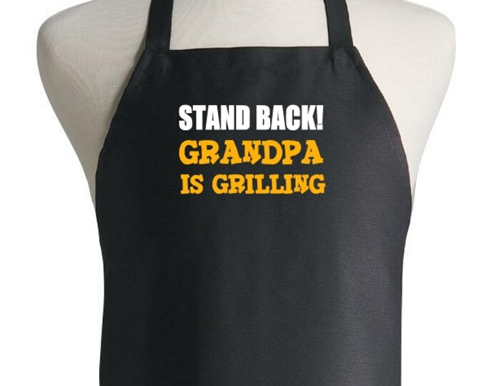 Black BBQ Apron Stand Back Grandpa Is Grilling Aprons For Men