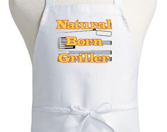 Barbecue Apron Gift Ideas Natural Born Griller White Chef Aprons