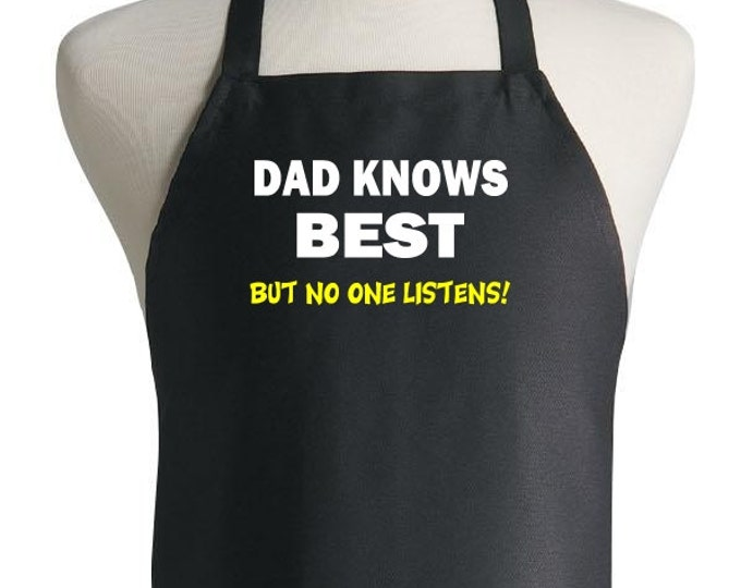 Funny Father's Day Apron Dad Knows Best Cooking Aprons For Men