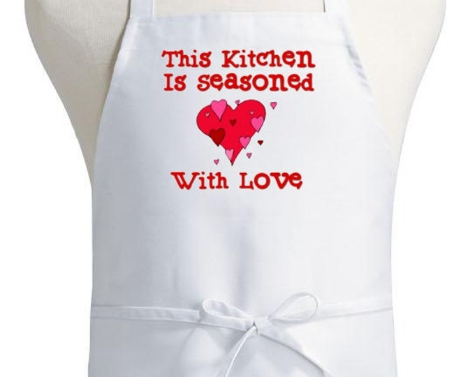 Cute Chef Aprons This Kitchen Is Seasoned With Love White Apron