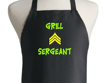 Black Barbeque Apron Grill Sergeant Grilling Apron Gift Idea