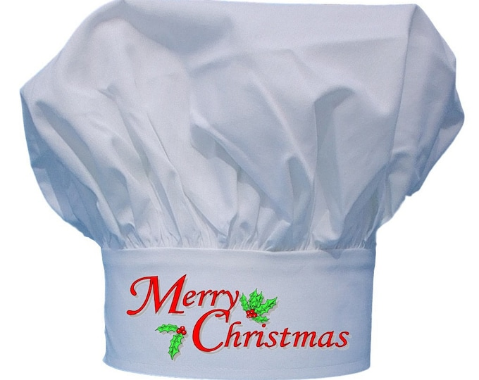 Merry Christmas Chefs Toque White Holiday Chef Hats