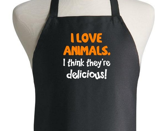 Funny Grilling Apron I Love Animals Novelty Barbecue Aprons