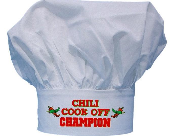 Chili Cook Off Champion Chef Hat, White Kitchen Toque Hats