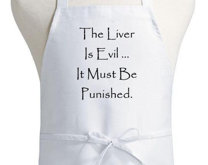 Funny Drinking Apron The Liver Is Evil Novelty Kitchen Aprons