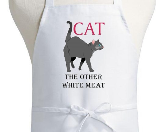 Humorous Kitchen Apron Cat The Other White Meat Cooking Aprons
