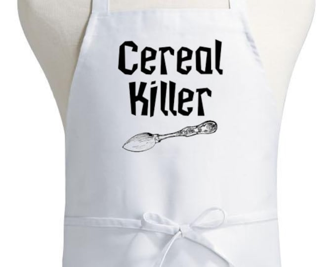 Humorous Aprons Cereal Killer White Cooking Apron Chef