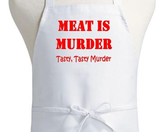 Funny Chef Aprons Meat Is Murder White Kitchen Apron