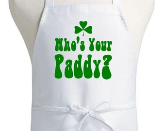 St Patricks Day Apron Who's Your Paddy Irish Cooking Aprons