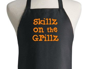 Black Grilling Apron Skillz On The Grillz Funny Barbecue Aprons