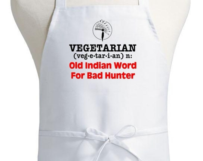 Funny Cooking Apron Vegetarian Bad Hunter Novelty Kitchen Aprons