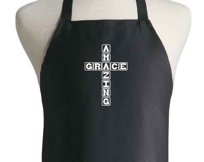 Christian Chef Aprons Amazing Grace Black Cooking Apron