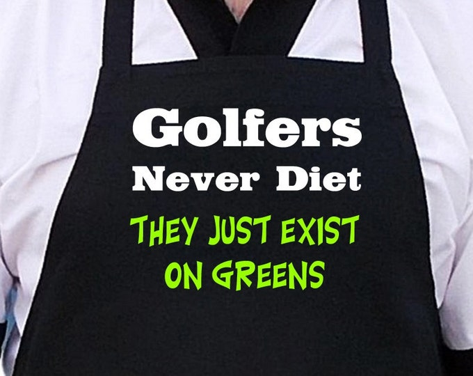 Funny Barbecue Aprons Golfers Never Diet Golfing Gift Idea