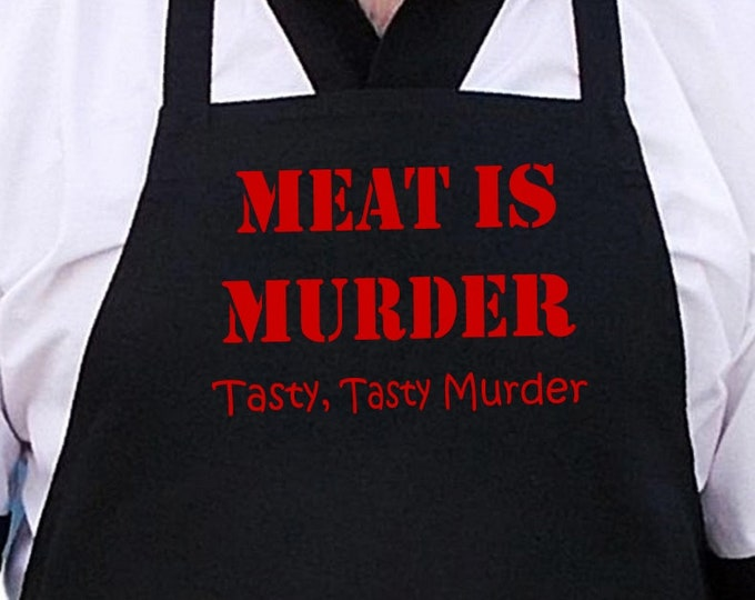 Black BBQ Apron Meat Is Murder Funny Grilling Aprons
