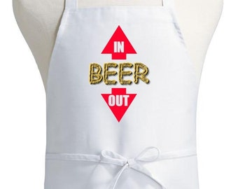 Funny Chef Aprons Beer In Out White Kitchen Cooking Aprons