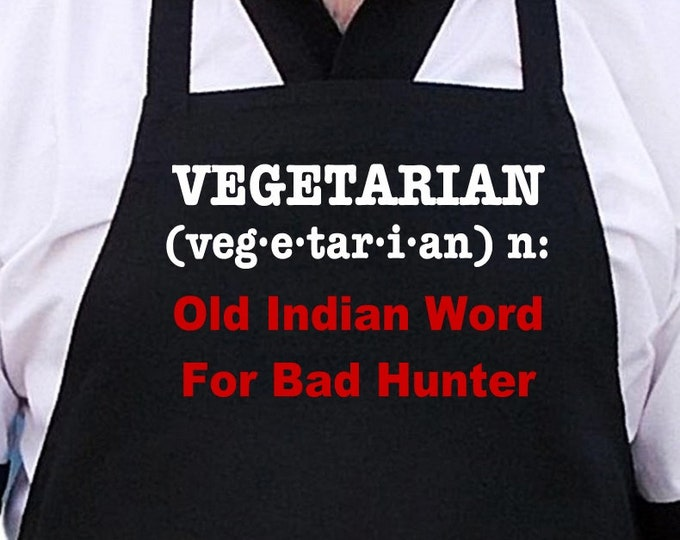 Funny Black BBQ Aprons Vegetarian Old Indian Word Chef Apron