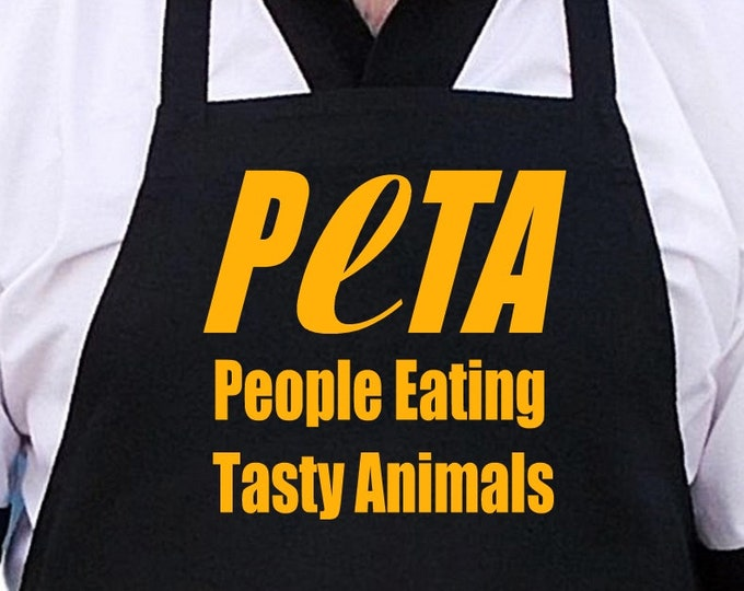 Barbecue Aprons Funny People Eating Tasty Animals Black Apron