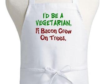 Funny White Apron If Bacon Grew On Trees Kitchen Aprons