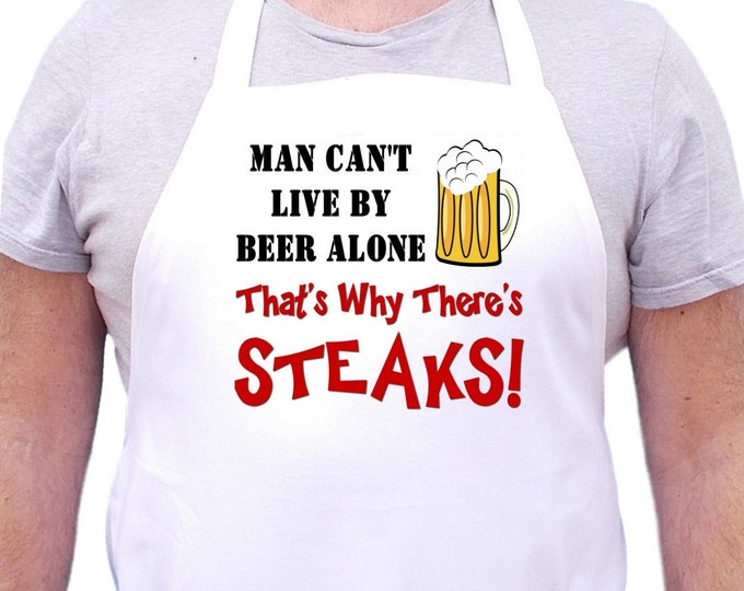 Men's Cooking Apron Man Can't Live By Beer Alone Funny Aprons
