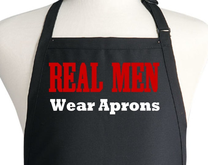 Funny Chef Apron Real Men Wear Aprons Barbecue Gift Idea
