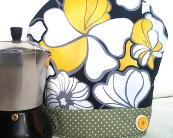 Handmade coffee pot cozy in Black, Yellow and Cream Floral fabric, cafetiere warmer, expresso warmer, handmade coffee cozies