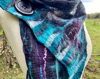 Nuno felted scarf, Nuno scarf, wool felted scarf, felted wool scarf, wool scarf, merino scarf, women's winter scarf.