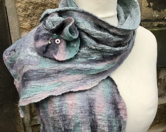 Nuno felted scarf, wool felted scarf, Nuno scarf, wool scarf, merino wool scarf, women's accessories, gifts for her,