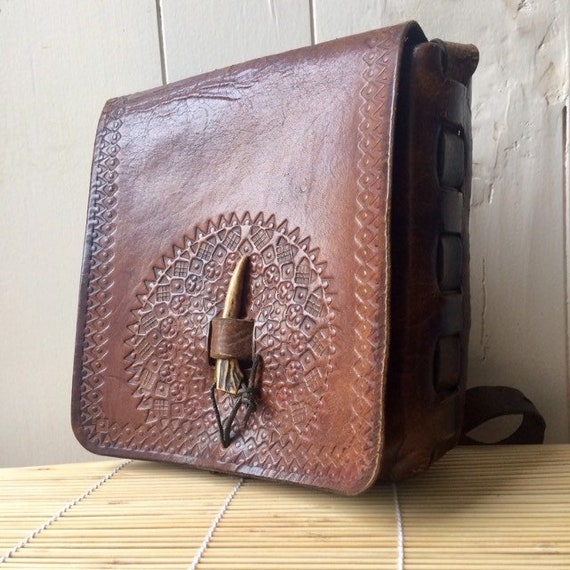 Vintage leather bag, Leather vintage bag, 70s vint