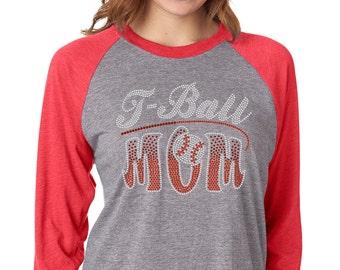 e7a2809267a Baseball Mom Bling Shirt - Play Ball - T Ball Mom - Little League - Baseball  - Softball - Sports Mom - Southern - Ladies Clothing - Raglan