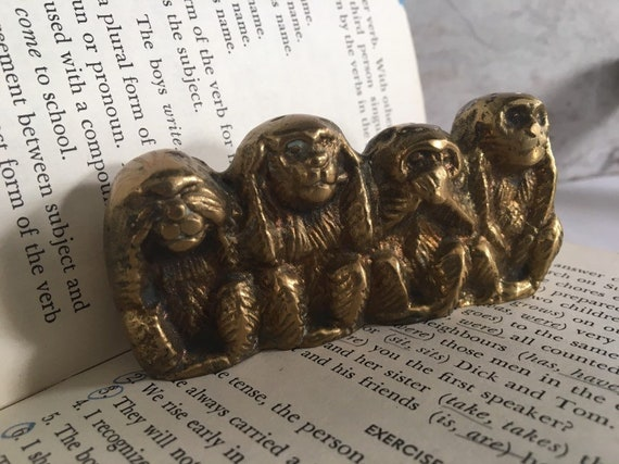 Solid Brass Monkeys Paper Weight Figural Brass Miniature see no evil hear  no evil say no evil do no evil