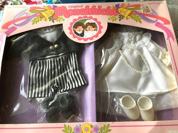 MONCHHICHI Wedding Costume clothing Monchichi Sekiguchi Monkey Parker New in Original Package 1980 Bride Groom Unopened package old stock