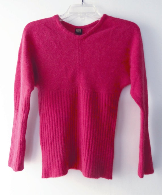 Vintage Biba Hot Pink Lambswool and Angora Sweater