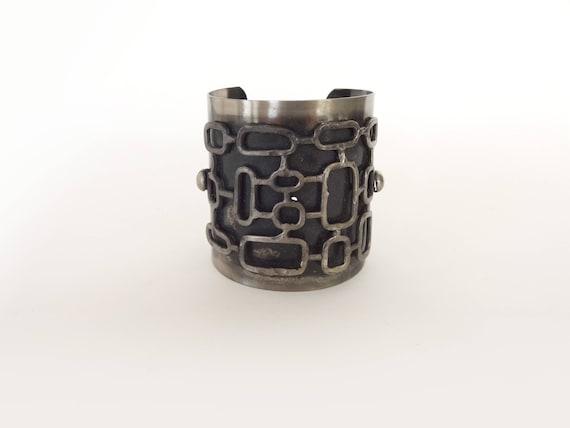 Mid Century Modern Artist Made Steel Cuff Bracelet - image 1